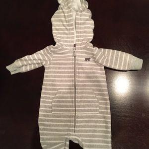 Carters gray and white fleece hooded bodysuit